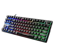 87 Key Wired Gaming Keyboard RGB Mix Backlight Luminous For