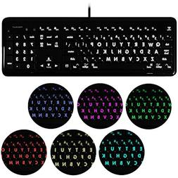 Macally 7 Color Backlit USB Keyboard  Full Size Wired with N