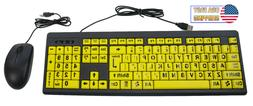 Big Bright Easy See Keyboard Yellow Large Print Letter Keys