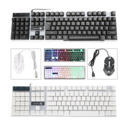 Computer Desktop Gaming Keyboard and Mouse Feel Led Light Ba