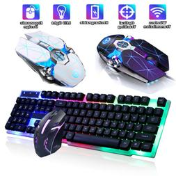 Computer Desktop Gaming Keyboard w/ Mouse Combo Ergonomic LE