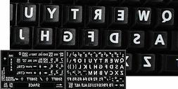 ENGLISH US KEYBOARD STICKER LARGE WHITE LETTERS BLACK BACKGR