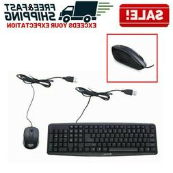 Keyboard Mouse Combo Corded PC Computer Laptop USB Optical W