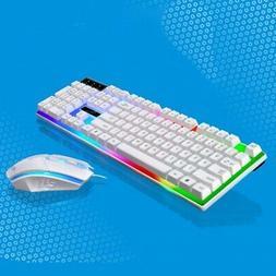 Wired LED Backlit Ergonomic Gaming Keyboard + Gamer Mouse Se