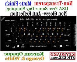 Korean Keyboard Sticker For Black Keyboard white & orange Op