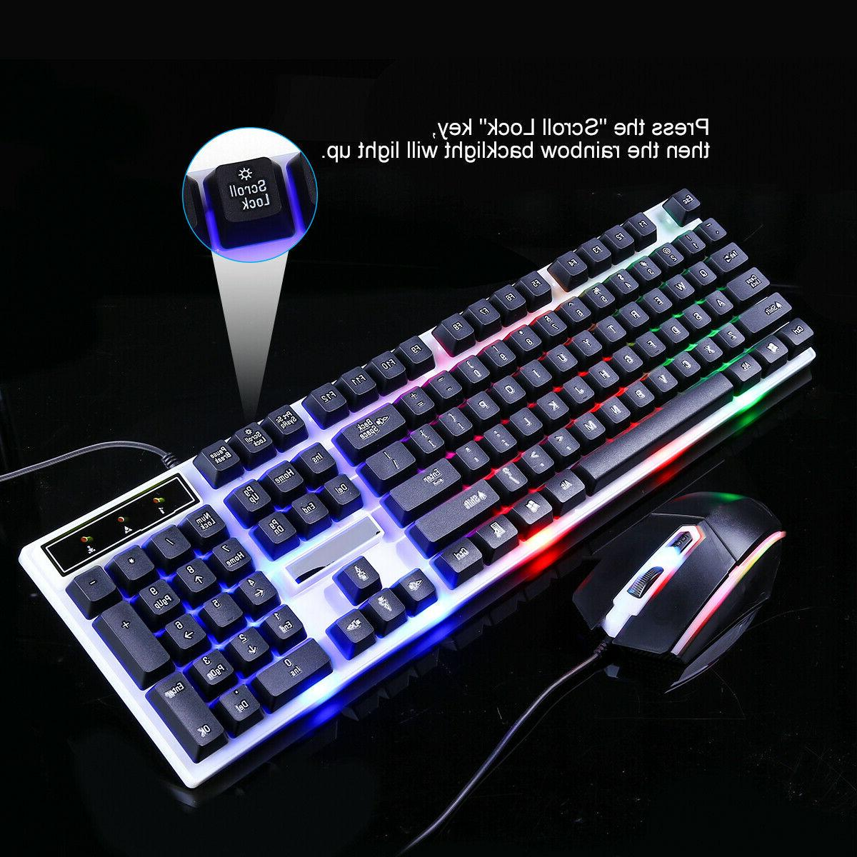 Computer Gaming Keyboard LED with Mouse Backlit Mechanical