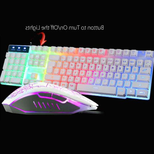 Gaming Keyboard Mouse Rainbow