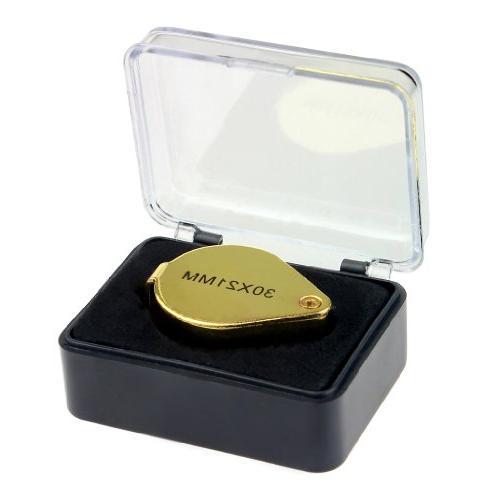 iKKEGOL 30 X 21mm Glass Jeweler Loop Eye Magnifying Metal Golden
