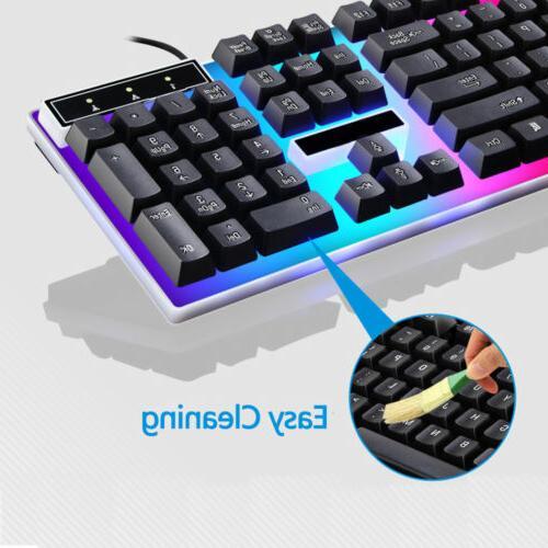 Led Light Desktop Keyboard With Mouse