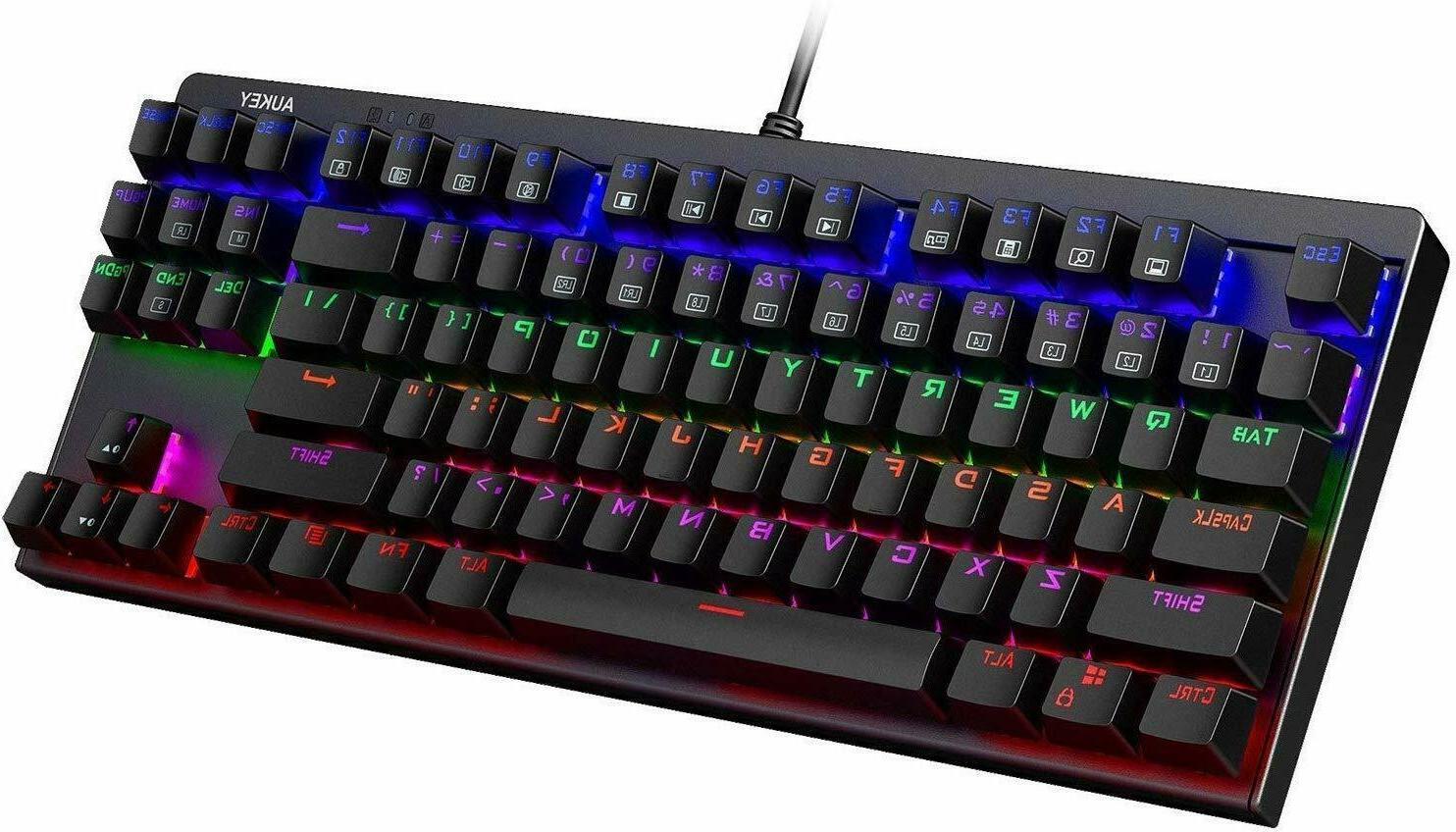 mechanical gaming keyboard led backlit with blue