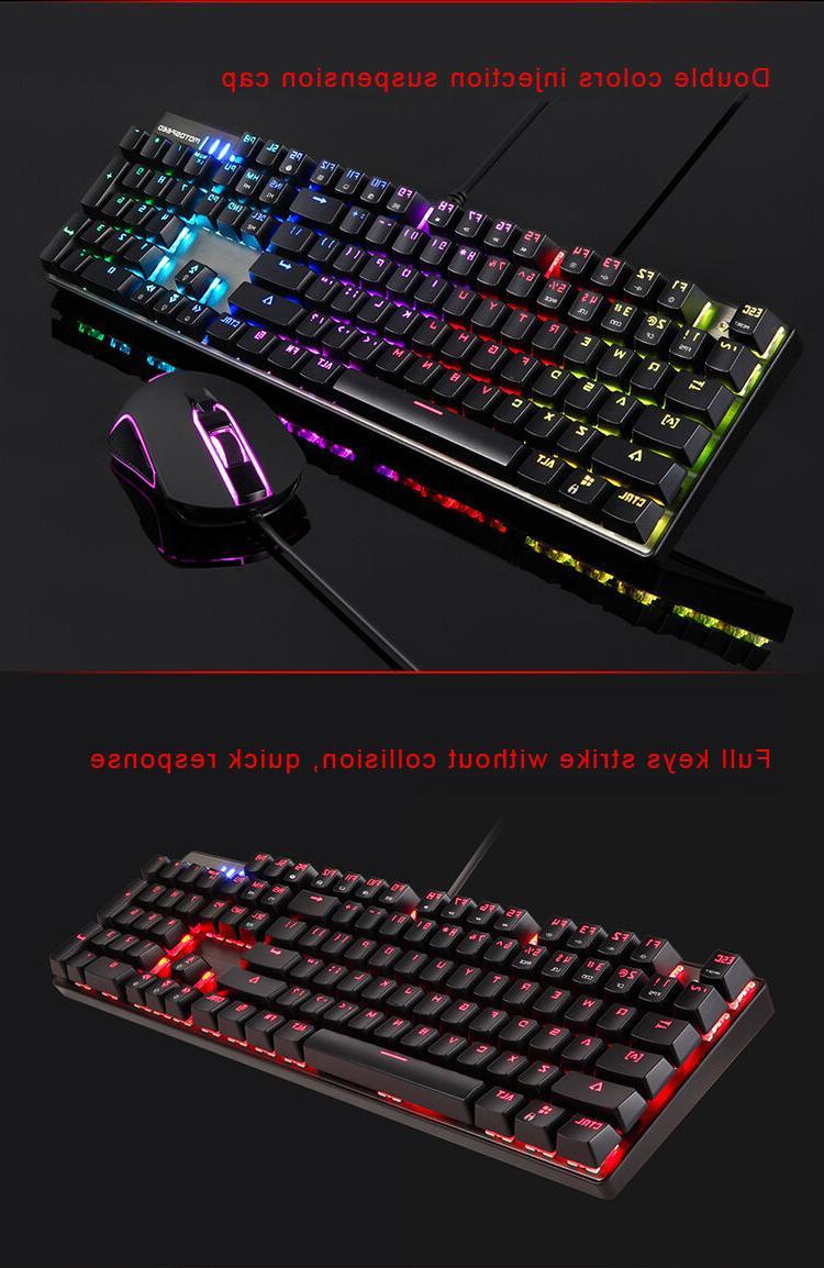 Motospeed CK888 Mechanical Gaming Keyboard USB Mouse Combo Bundle PC