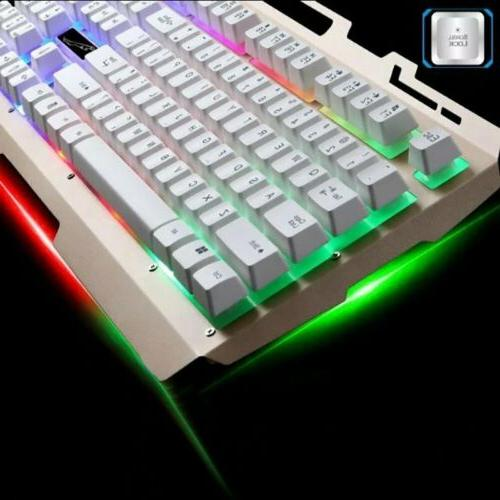 Pro Gaming RGB Colorful LED Backlit & Mouse Computer PC Light Up