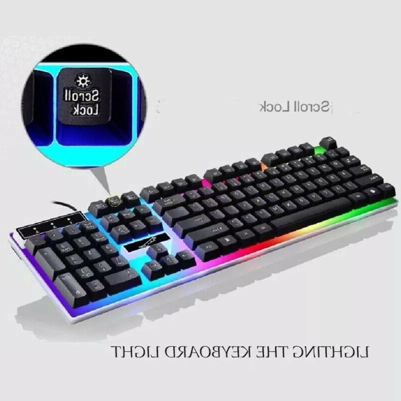 Rainbow Keyboard And Mouse Set Multi-Color Changing Backlight Mouse Mice