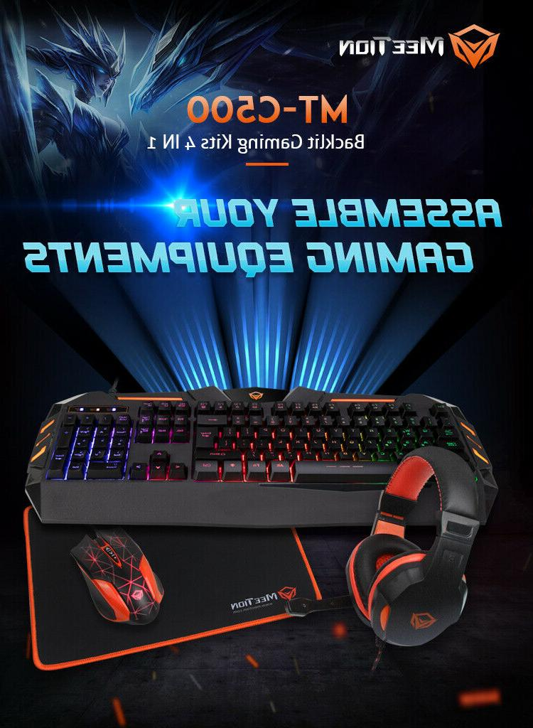 MeeTion Rainbow Mouse, Pad, and Headset Combo 1 Set