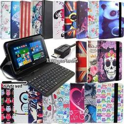 """Leather Stand Cover Case With Keyboard For Various 10"""" Acer"""
