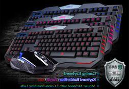 LED Backlit Ergonomic Mechanical Gaming Keyboard USB Wired f