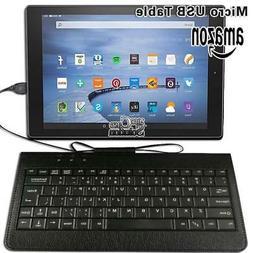 "Micro USB Leather Keyboard Plug and play For 8.9"" 10"" Amazon"