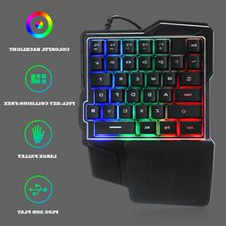 Mini One-Handed Gaming Keyboard 8 Colors RGB Led Backlit USB