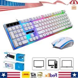Rainbow Gaming Keyboard And Mouse Set Multi-Color Changing B