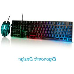 RGB Backlit Keyboard and Mouse Kit 3 Color Rainbow LED Illum