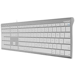 Macally Ultra-Slim USB Wired Computer Keyboard for Apple Mac