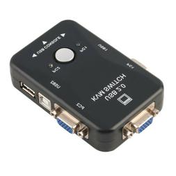 2 Port USB KVM VGA Switch with 2 Set Cable For  Mouse Keyboa