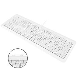 Macally Full Size USB Wired Computer Keyboard with Built-In