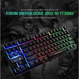 Wired Gaming Keyboard 87 keys MIX/RGB Backlit Keyboard For D