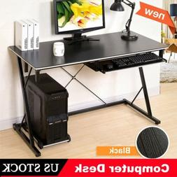 Z-shaped Computer Desk End Table with Keyboard Tray & Main F